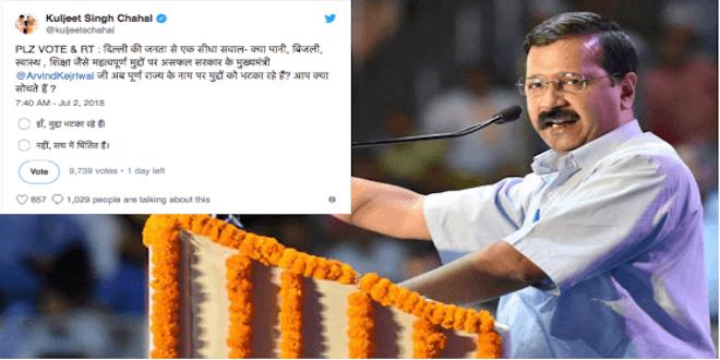 BJP leader Kuljeet Chahal started Twitter Poll against Delhi CM Arvind kejriwal