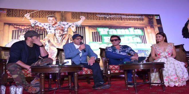 Yamla Pagla Deewana Phir Se in Delhi for the launch of the latest song 'Rafta Rafta'