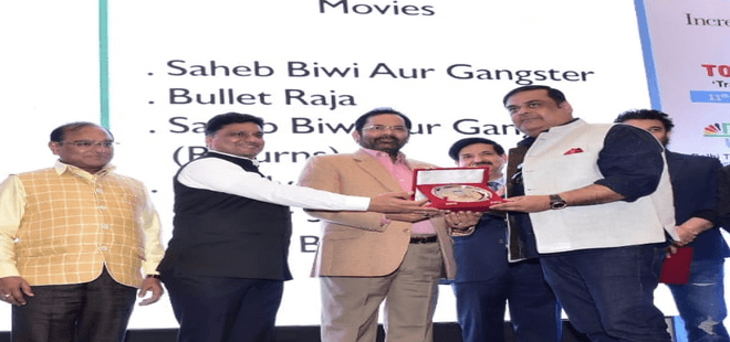 Producer Rahul Mittra awarded by Union Minister Mukhtar Abbas Naqvi