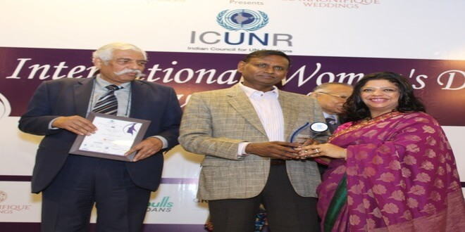 ICUNR awarded Ms. Rashi Rastogi Khan, on the occassion of International Women's Day.