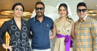 Ajay Devgan, Tabu and Rakul Preet Kaur witnessed promoting their upcoming movie De De Pyaar De in National Capital