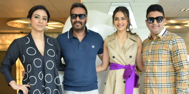 Ajay Devgan, Tabu and Rakul Preet Kaur witnessed promoting their upcoming movieDe De Pyaar Dein National Capital
