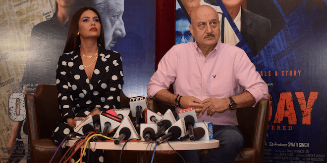 Anupam Kher and Esha Gupta witnessed promoting their upcoming movie One Day: Justice Delivered in Delhi