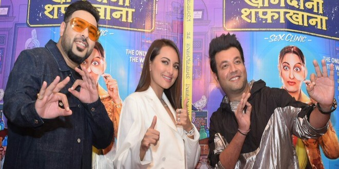 Sonakshi Sinha, Badshah, and Varun Sharma witnessed promoting their upcoming movie Khandaani Shafakhana in National Capital