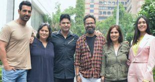"John Abraham and Mrunal Thakur Seen promoting Their upcoming Movie ""Batla House"" in Delhi"