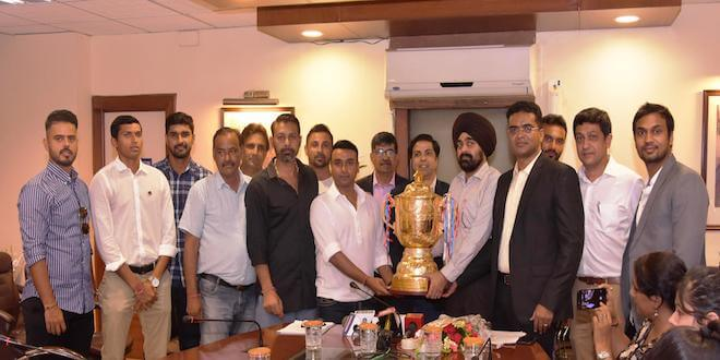 All India Public Sector Sports Promotion Board (AIPSSPB) – AIPS Cricket League Org. By Food Corporation of India In association with Marketing Partner Sports Oodles Pvt Ltd Unveiled the trophy