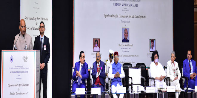 President addressed 150th birth anniversary of Mahatma Gandhi at the seminar 'Spirituality for Human and Social Development' held in New Delhi