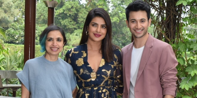 Priyanka Chopra, Rohit Suresh Saraf and Director Shonali Bose Witnessed Promoting their upcoming movie The Sky is Pink in Delhi