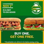 SUBWAY TO CELEBRATE WORLD SANDWICH DAY WITH #GOODCOMESBACK CAMPAIGN AND BOGO OFFER ON NOVEMBER 1