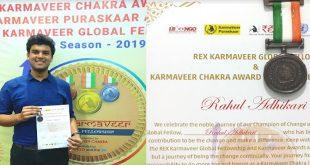 IIT Gold Medalist Awarded Karmaveer Chakra by iCONGO & United Nations