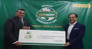 SUBWAY® INDIA COLLECTS RS 1.8 MILLION FOR KAILASH SATYARTHI CHILDREN'S FUND ON WORLD SANDWICH DAY