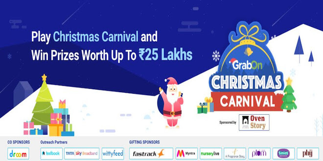 GrabOn in Association with Ovenstory, Droom, and Fastrack brings you Christmas Carnival Season 3