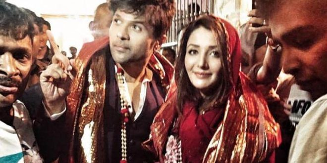 Happy Hardy and Heer Jodi Himesh Reshammiya and Sonia Mann seek blessings in Mathura at Banke Bihari temple for their film Happy Hardy and Heer.