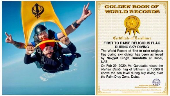 Navjyot Gurudatta is now certified World Record Holder for Raising Nishan Sahib at 13000 feet above sea level during sky diving in dubai