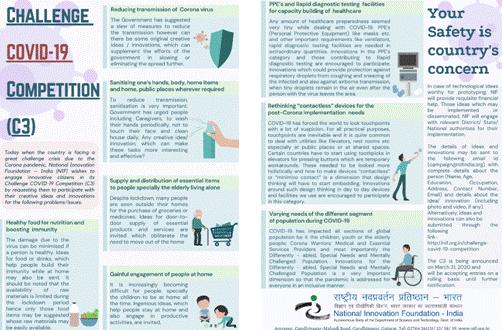 NIF invite innovative citizens to participate in Challenge COVID-19 Competition (C3)