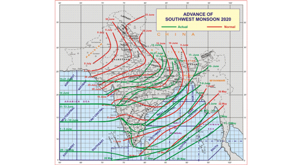 Conditions becoming favourable for further advance of southwest monsoon into some more parts of Madhya Pradesh and Uttar Pradesh and some parts of Uttarakhand around 23rd June