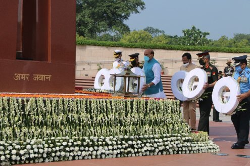 "Raksha Mantri Rajnath Singh along with Raksha Rajya Mantri Shripad Naik, Chief of Defence Staff & Secretary Department of Military Affairs General Bipin Rawat, Chief of Army Staff General M M Naravane, Chief of Naval Staff Admiral Karambir Singh and Chief of Air Staff Air Chief Marshal R K S Bhadauria paid homage to the fallen heroes at National War Memorial on the 21st anniversary of India's victory in 'Operation Vijay' also known as Kargil conflict, here today. Indian Armed Forces' victory in Kargil on 26 July 1999 is a saga of strong political, military and diplomatic actions. The Nation is celebrating this day with pride, honour and inspiration. Raksha Mantri wrote a message in the visitors' book at the War Memorial, ""On the occasion of Kargil Vijay Diwas today, I pay my obeisance and salutation to the brave soldiers of the Indian Armed Forces who sacrificed their lives to protect motherland from the enemy. The country will always remember the courage, valour, restraint & determination of our fallen heroes and will march ahead taking inspiration from their supreme sacrifice."" He said Kargil Vijay Divas is not just a day but a celebration of the courage and valour of the soldiers of this country. Brave soldiers of the Indian Army had overcome seemingly insurmountable odds, hostile terrain, inclement weather, and the enemy occupying dominating heights, to win the conflict with the help of Indian Air Force, which gave the air support. On this momentous occasion, the proud nation is celebrating this victory in memory of fallen heroes with events covering a myriad spectrum all across the country. Defence Secretary Dr Ajay Kumar and other senior civil and military officials of the Ministry of Defence were present on the occasion."