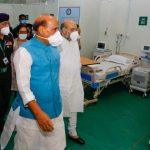 Raksha Mantri Rajnath Singh, Home Minister Amit Shah and Health Minister Harsh Vardhan visit Sardar Vallabhbhai Patel COVID Hospital in Delhi