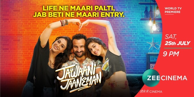 Treat yourself with a perfect dose of love, laughter and entertainment with the World Television Premiere of the ubercool film 'Jawaani Jaaneman' on Zee Cinema