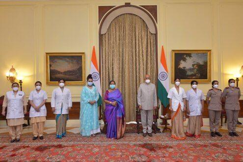 President of India Ram Nath Kovind Celebrates Raksha Bandhan with Nursing Professionals