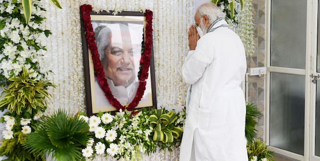 PM Narendra Modi pays tributes to late Keshubhai Patel, former CM of Gujarat.