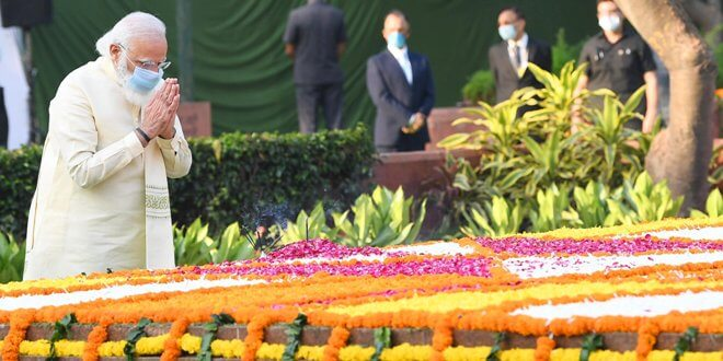 Prime Minister Narendra Modi paid tributes to former Prime Minister Lal Bahadur Shastri on his birth anniversary at Vijay Ghat, in Delhi on October 02, 2020.
