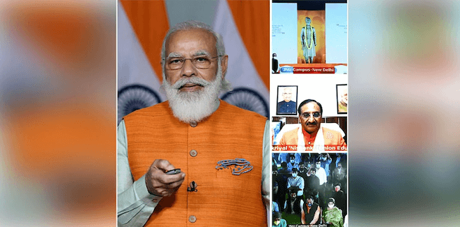 PM Narendra Modi unveils statue of Swami Vivekananda at JNU Campus