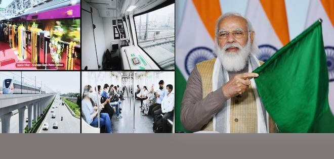 PM Narendra Modi inaugurates India's first-ever driverless train operations on Delhi Metro's Magenta Line