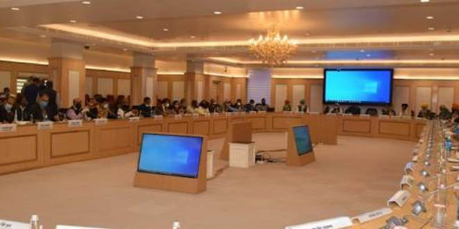 Talks held with representatives of Farmers' Union at Vigyan Bhawan , New Delhi