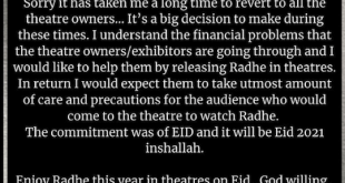 Big news! On theatre owners' request, Salman Khan confirms a theatrical release for 'Radhe' on this Eid