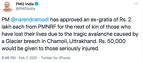 PM approves ex-gratia for the victims of avalanche in Chamoli, Uttarakhand