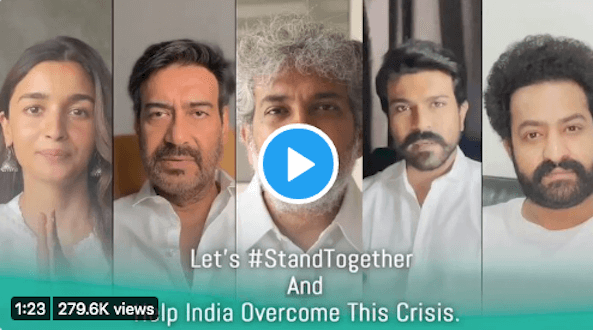 Team of RRR Movie urges everyone to #StandTogether and help India overcome this crisis, take a look at this video message!