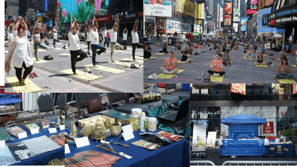 Tribal products showcased at 'Solstice for Times Square 2021', an event organised for International Day Of Yoga at New York