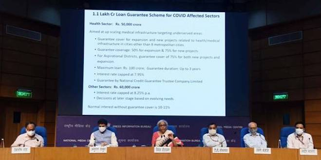 Union Minister for Finance & Corporate Affairs Smt. Nirmala Sitharaman announces economic relief package in New Delhi today.